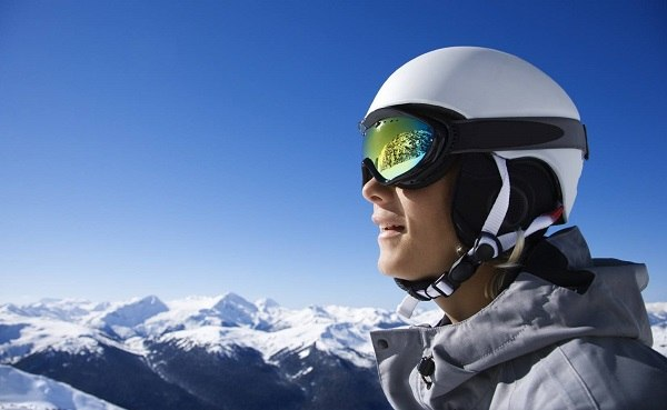 Skier with ski goggles.